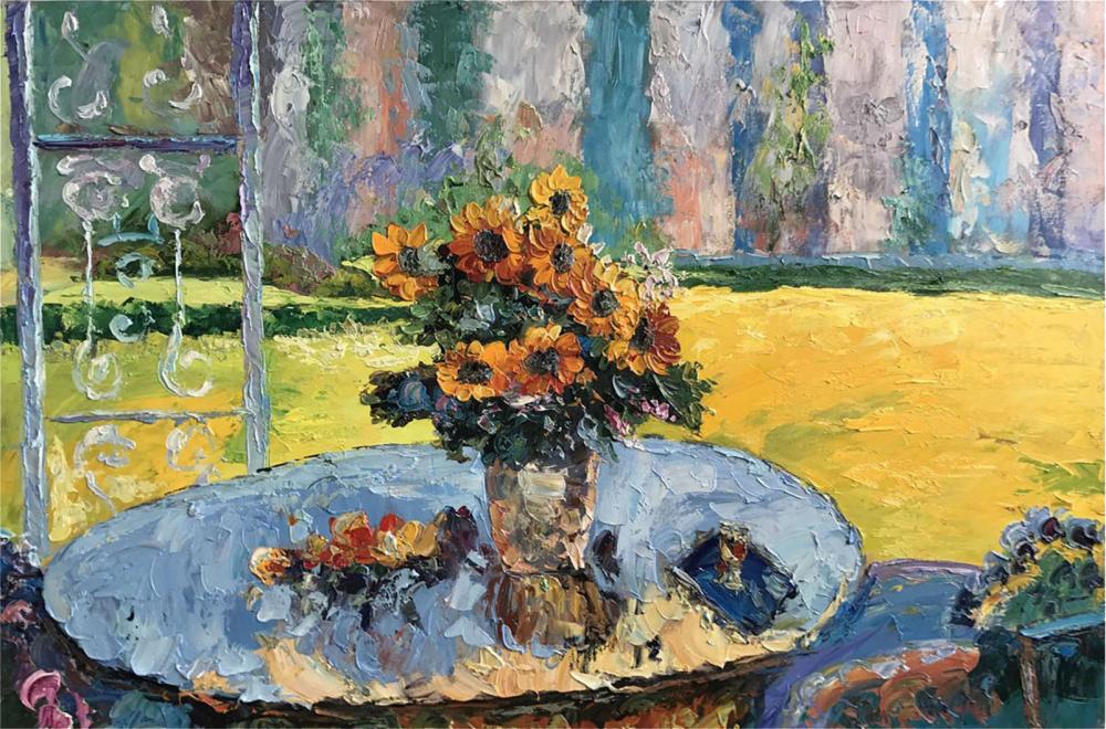 Картина маслом  Цветы на столе