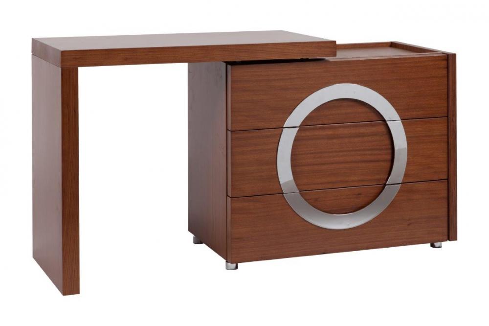 Туалетный столик Towens WalnutТуалетные столики (консоли)<br>Туалетный столик Towens отлично подходит <br>для современной леди, которая любит выглядеть <br>красиво и ценит удобство в интерьере. Отличающийся <br>оригинальным и выразительным дизайном <br>раздвижной туалетный столик цвета грецкого <br>ореха гармонично впишется в интерьер в <br>стиле модерн. Спереди он имеет три функциональных <br>отделения, посередине расположен декор <br>в форме круга серебристого цвета. Благодаря <br>удобной столешнице и трем выдвижным ящикам <br>все необходимые вещи и мелочи можно будет <br>хранить в одном месте.<br><br>Цвет: Коричневый<br>Материал: МДФ<br>Вес кг: 75<br>Длина см: 130<br>Ширина см: 44,5<br>Высота см: 70