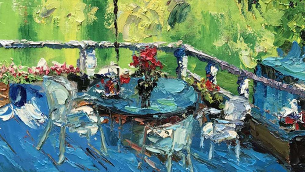 Картина маслом  Стол на балконе