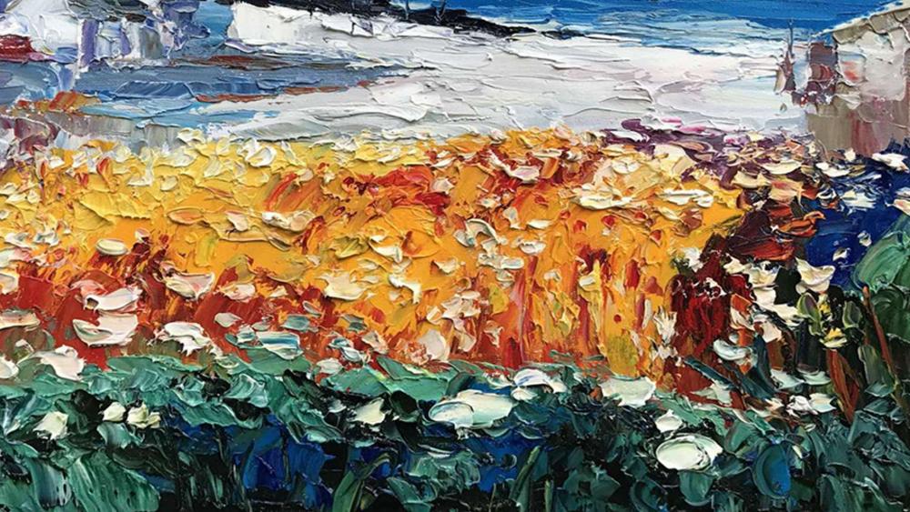 Картина маслом  Деревня на берегу