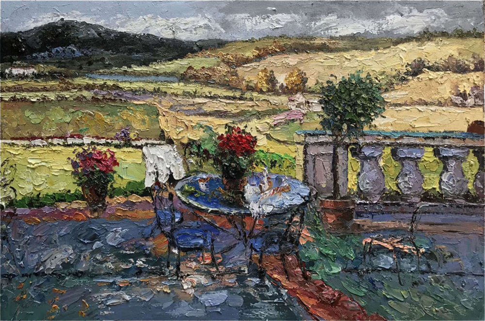 Картина маслом  Цветы в усадьбе