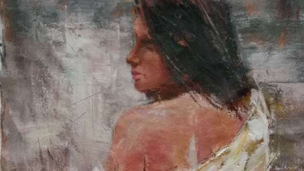 Картина маслом  Брюнетка