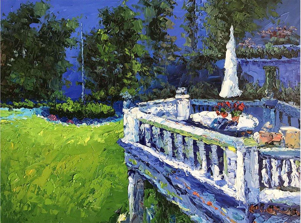 Картина маслом  Балкон в саду