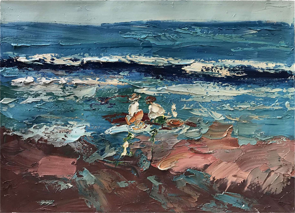 Картина маслом  Двое на берегу