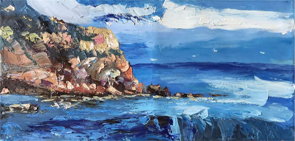 Картина маслом  Утес у моря