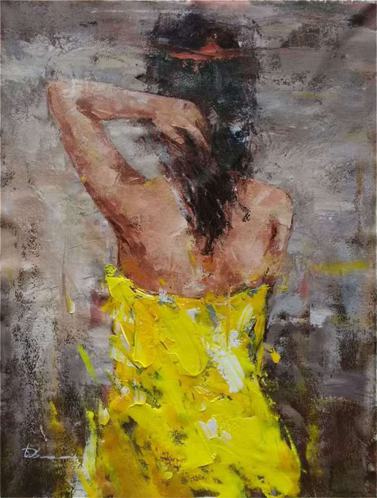 Картина маслом  Девушка в желтом