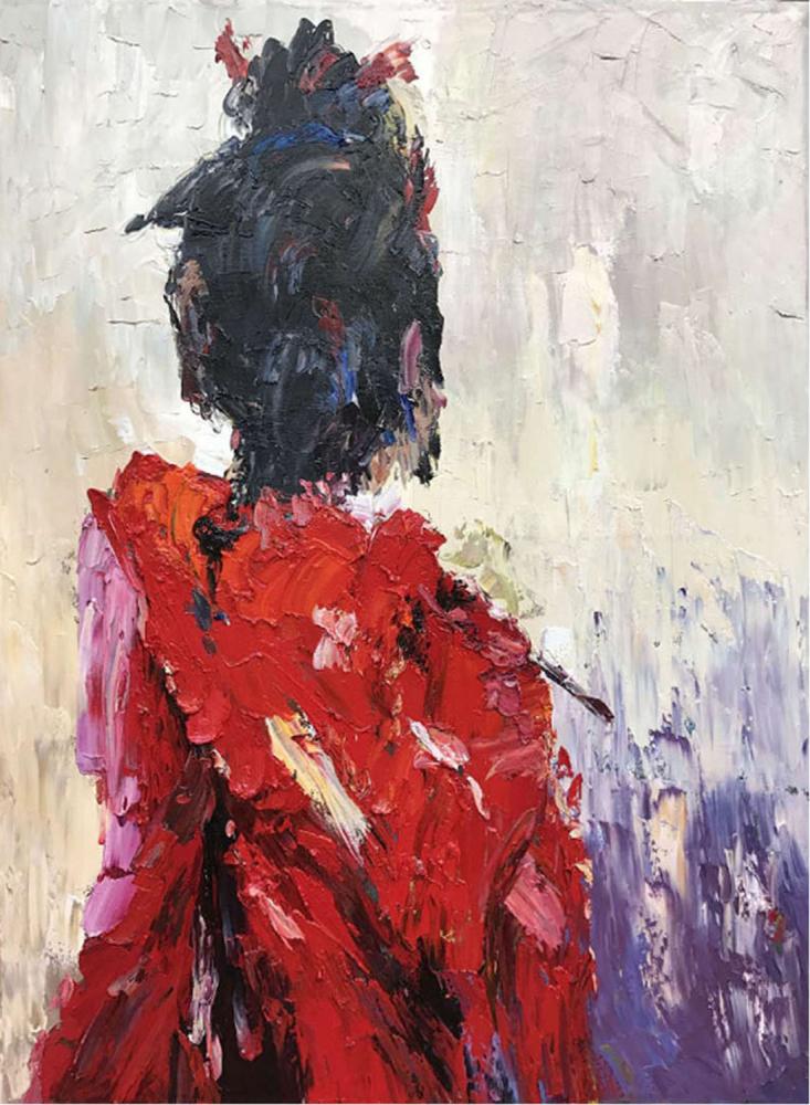 Картина маслом  Гейша в красном