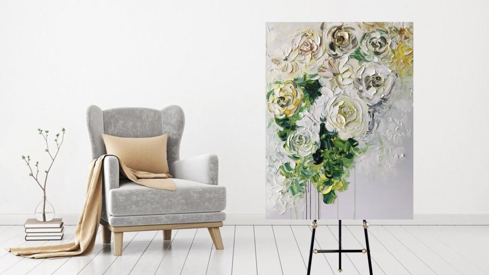 КАРТИНА МАСЛОМ Белые розы 90*120 см.