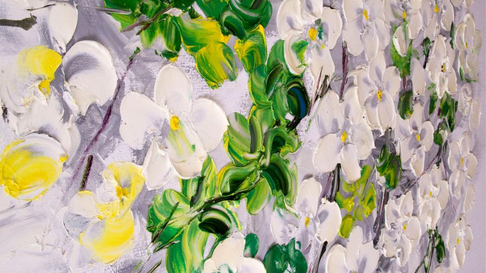 КАРТИНА МАСЛОМ Белая орхидея 90*120 см.