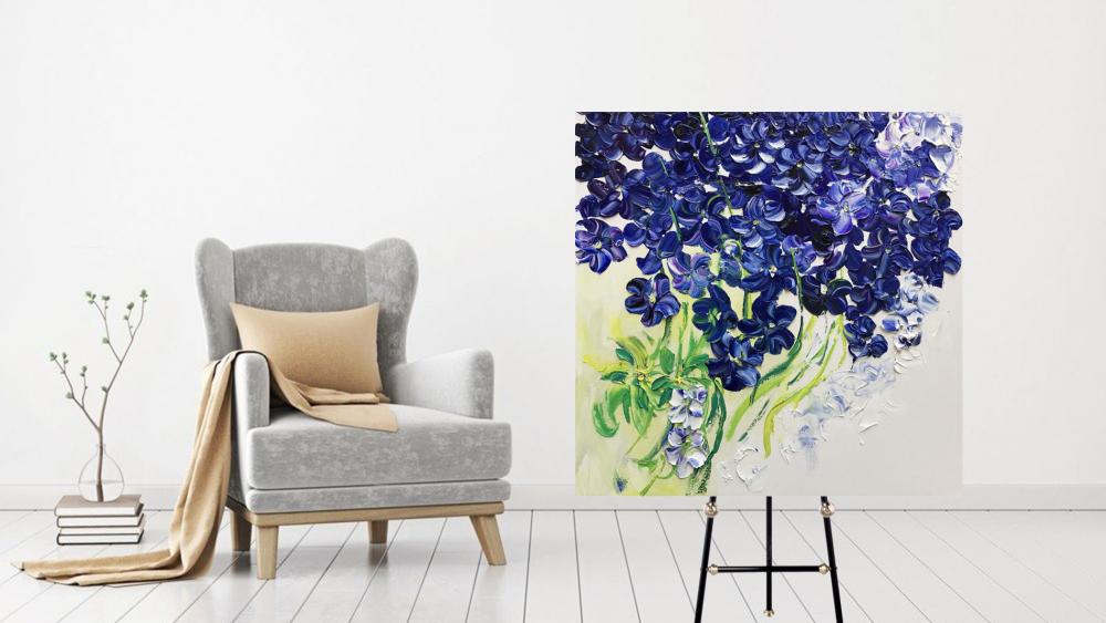 КАРТИНА МАСЛОМ  Синии орхидеи 100*100 см.