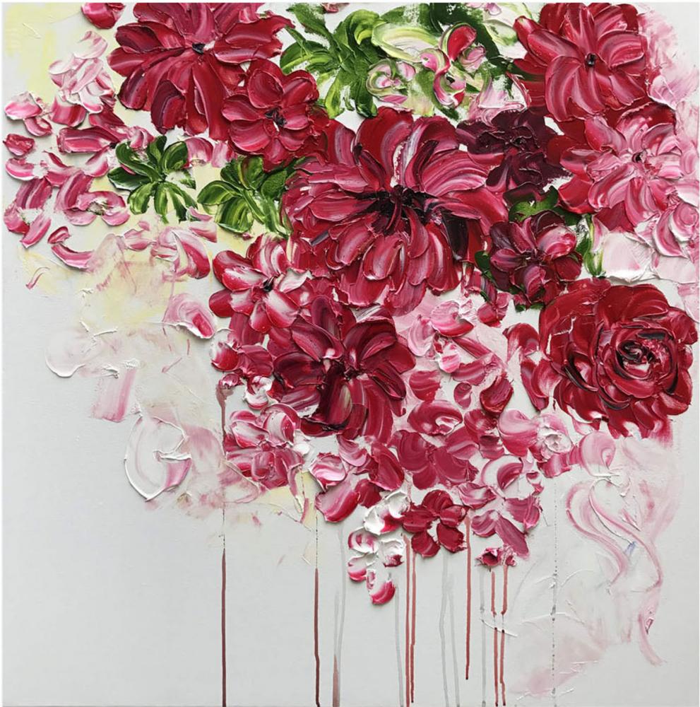 КАРТИНА МАСЛОМ Нежные цветы 100*100 см.