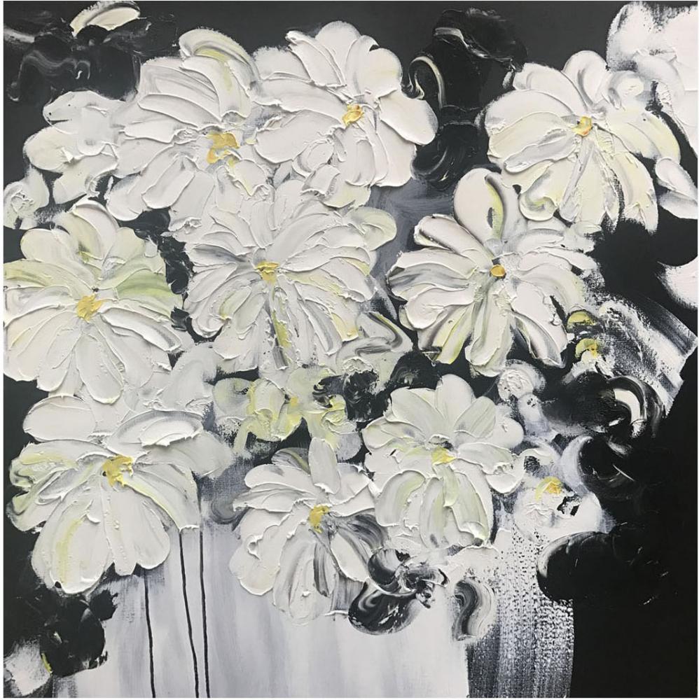 КАРТИНА МАСЛОМ Великолепные цветочки 100*100 см.