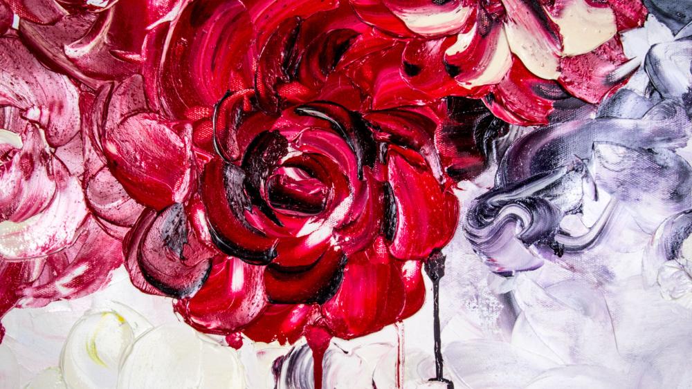 КАРТИНА МАСЛОМ Алые розы 100*100 см.