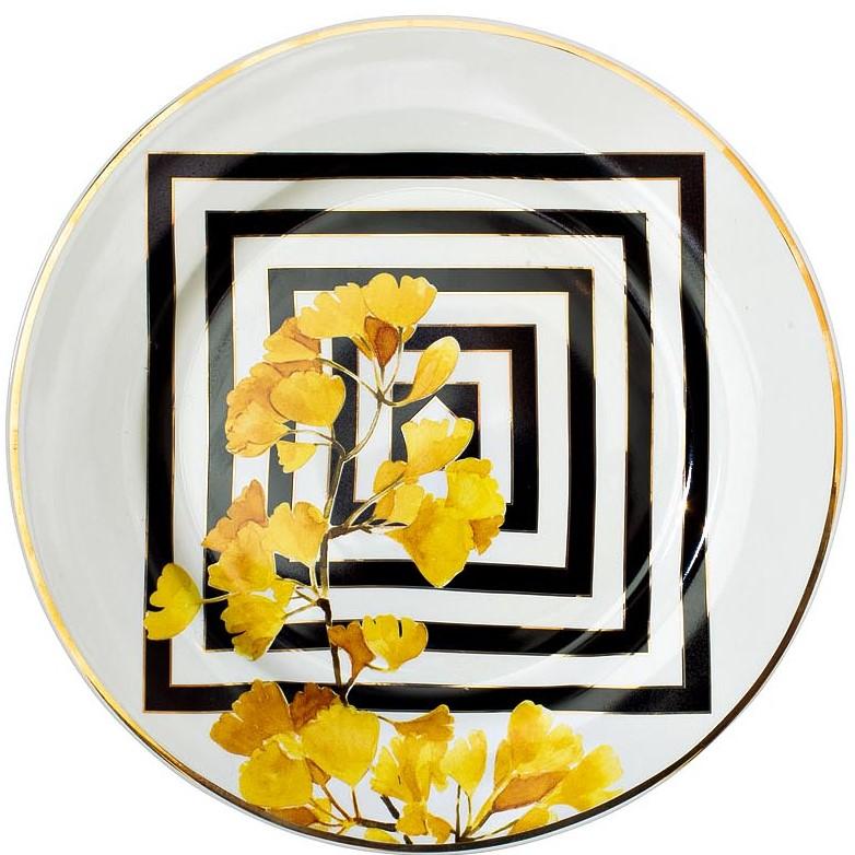 Тарелка десертная 19 см желтый орнамент