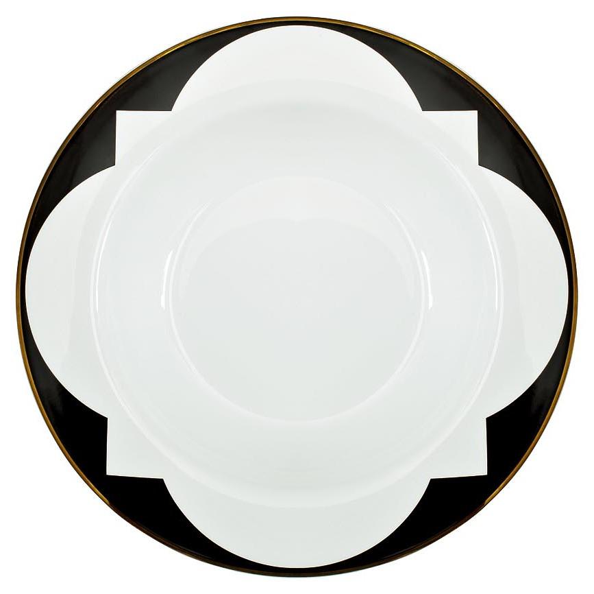 Тарелка суповая 21 см черно-белая