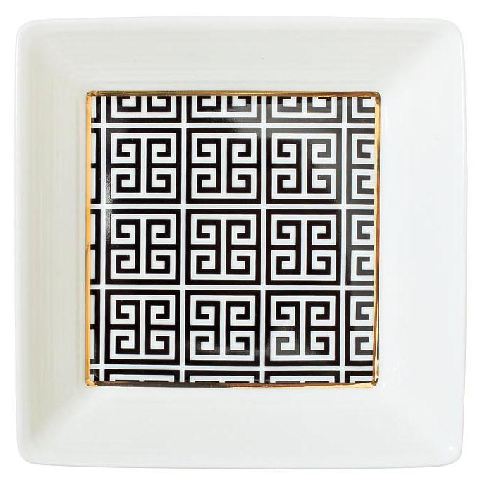 Тарелка квадратная 12см черно-белая
