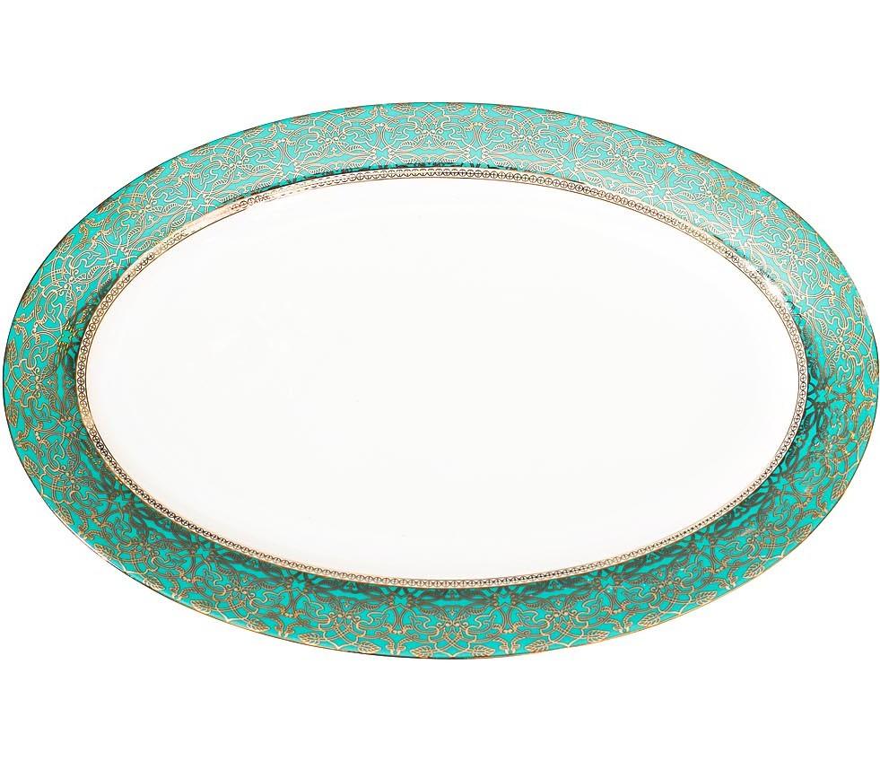 Тарелка овальная 36см цвет бирюзовый