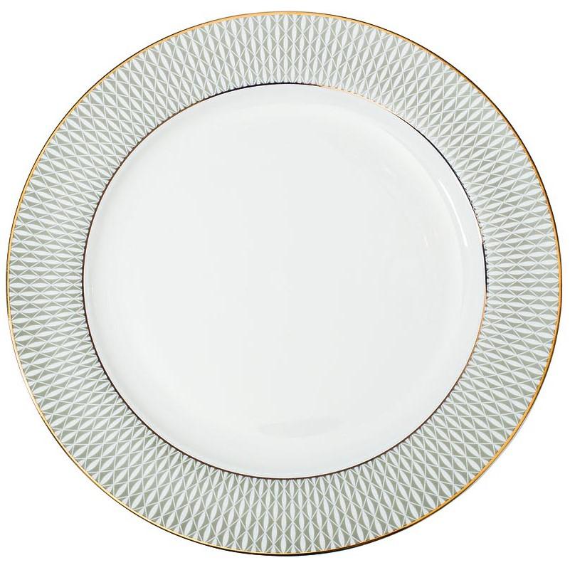 Тарелка обеденная 27см серый орнамент
