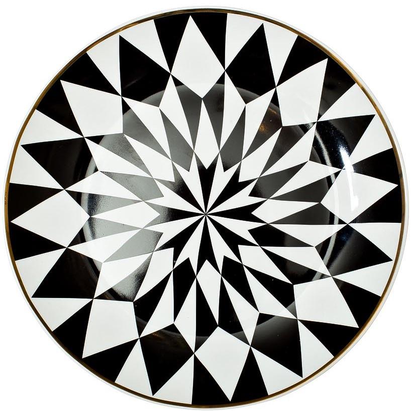 Тарелка десертная 20см черно-белая