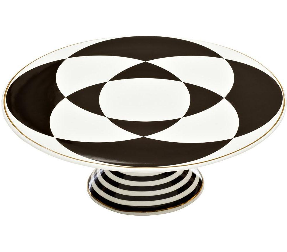 Подставка для торта 28см черно-белая