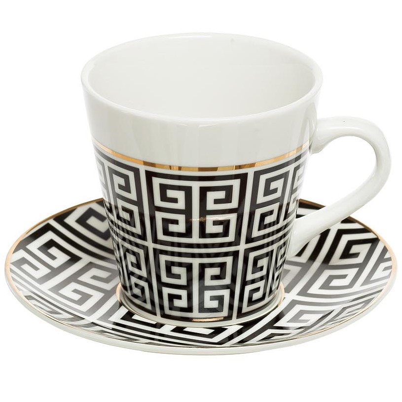 Чайная пара 200мл черно-белая