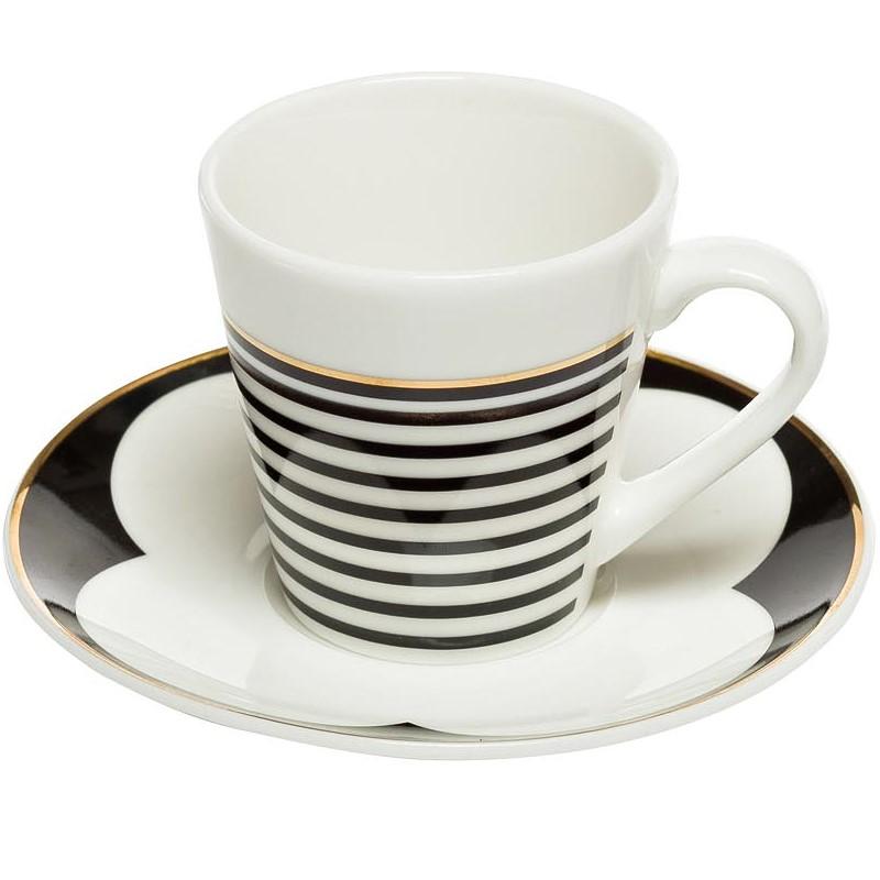 Чашка кофейная 80мл с блюдцем черно-белая (6)
