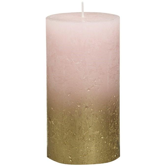 Свеча декор. Rustic 130*68мм розовая с вкрапл.металлик золото