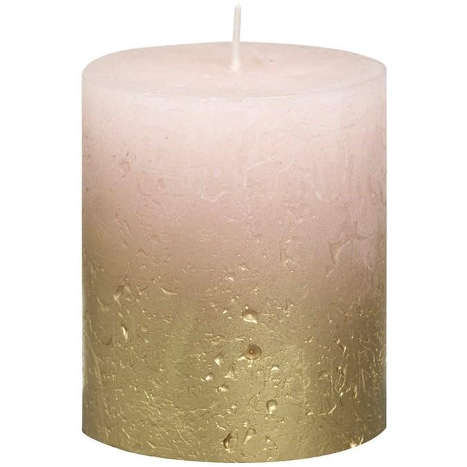 Свеча декор. Rustic 80*68мм розовая с вкрапл.металлик золото