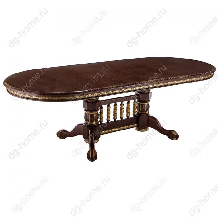 Стол деревянный Кантри орех с золотой патиной