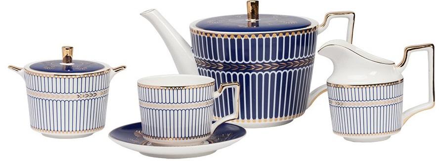 Чайный сервиз PerlinaЧайные сервизы<br>Благородный чайный сервиз Perlinaс классическим <br>сочетанием белого, синего и золотого цветов <br>позволит наслаждаться чаепитием в теплой <br>дружеской атмосфере. Все элементы чайного <br>сервиза сделана из костяного фарфора, который <br>придает изделиям невообразимую легкость <br>и изящность, а строгий рисунок подчеркивает <br>простые лаконичные формы. Рассчитан на <br>4 персоны.<br><br>Цвет: Белый, Синий, Золото<br>Материал: Костяной фарфор<br>Вес кг: 4,3<br>Длина см: 50<br>Ширина см: 50<br>Высота см: 40