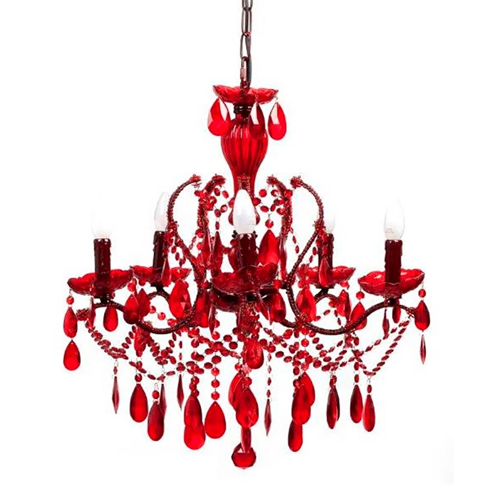 Фото Люстра 19th C. Rococo Iron & Smoke Crystal Round (красная). Купить с доставкой