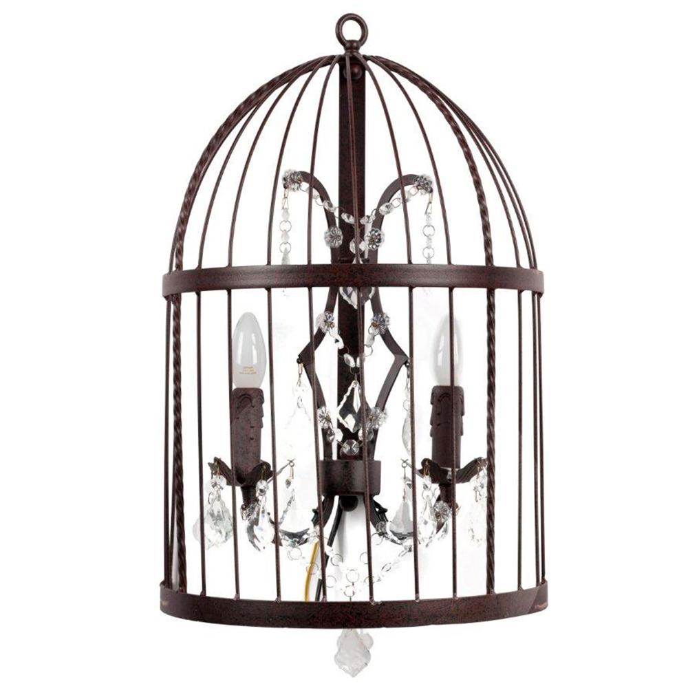 Настенный светильник Vintage Birdcage (50*20*60)Бра и канделябры<br>Настенный светильник Vintage Birdcage Vol.I — необычный <br>металлический светильник с двумя подсвечниками <br>внутри клетки, декорированной хрустальными <br>подвесками, по-новому осветит холл в частном <br>доме или ресторане. Глубокий темно-коричневый <br>цвет и креативный дизайн с ноткой минимализма <br>подчеркнет уникальность интерьера вашего <br>дома. Купите в нашем интернет-магазине светильник <br>Vintage Birdcage Vol.I — он достойно займет свое место <br>по обеим сторонам камина. Предназначен <br>для использования со светодиодными лампами<br><br>Цвет: Коричневый<br>Материал: Металл, Хрусталь<br>Вес кг: 2,8<br>Длина см: 50<br>Ширина см: 20<br>Высота см: 60