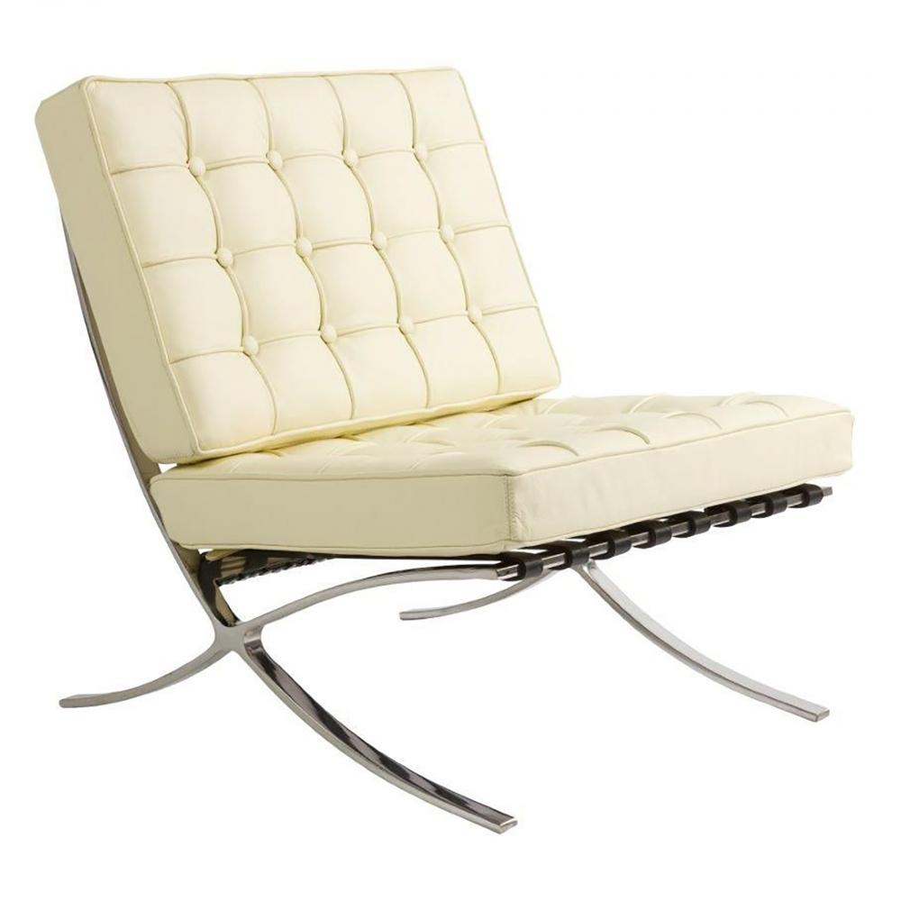 Детское кресло Barcelona Chair Кремовая Кожа Класса  Премиум