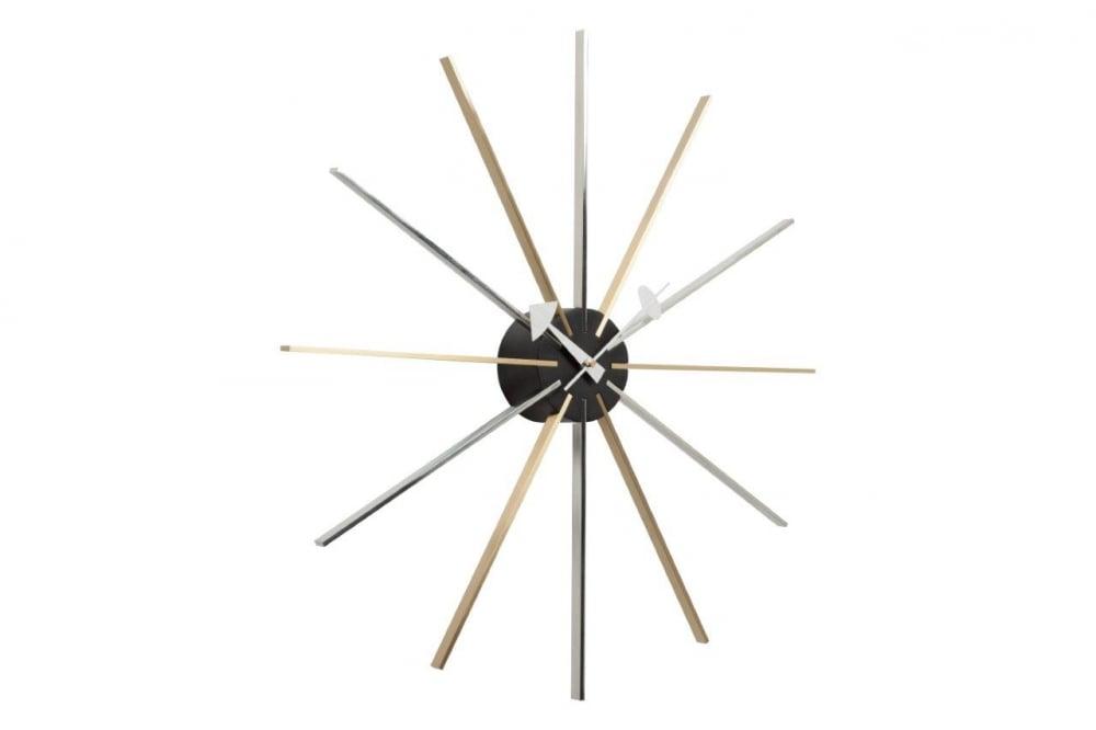 Часы настенные George Nelson Star DG-HOME Необычного вида настенные алюминиевые  часы George Nelson Star являются оригинальным украшением  интерьера. Циферблат изготовлен в виде  двенадцати лучей золотистого и серебряного  цвета, исходящих от чёрного алюминиевого  корпуса, в котором находится механизм часов  и на котором расположены голубые стрелки,  часовая — в виде стрелы, минутная — в виде  рапиры. Часы подойдут для украшения современного  интерьера.