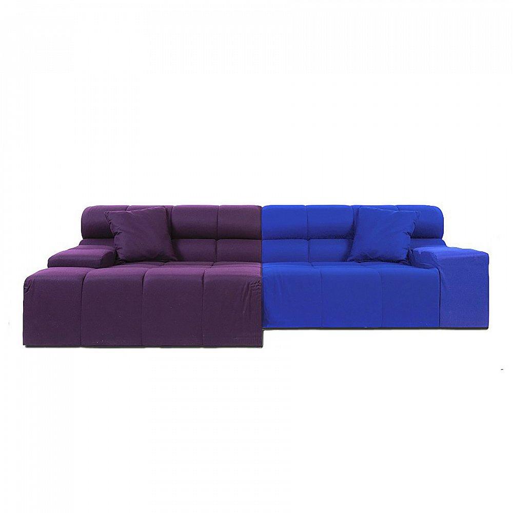 Диван Tufty-Time Sofa Фиолетово-синяя Шерсть DG-HOME Диван Tufty-Time Sofa выполнен на деревянном каркасе,  состоит из двух разных половинок, отличающихся  по цвету (синий и фиолетовый) и по ширине,  с плоскими подлокотниками, наполнитель  — мебельный поролон, с двумя декоративными  подушками под спину. Диван Tufty-Time Sofa словно  бросает вызов всему симметричному и пропорциональному.  Два элемента можно использовать совместно,  также есть возможность «разделить» секции  и расставить их по своему вкусу. Обивка  угловой части отделана синей тканью. Широкий  блок представлен в фиолетовом варианте.  Диван обладает и непревзойденным удобством,  долговечностью и надежностью, изготовлен  из абсолютно безопасных натуральных материалов.  Дизайн дивана от Патрисии Уркиола (Patricia  Urquiola)! Удобный аксессуар для современного  стиля гостиной.
