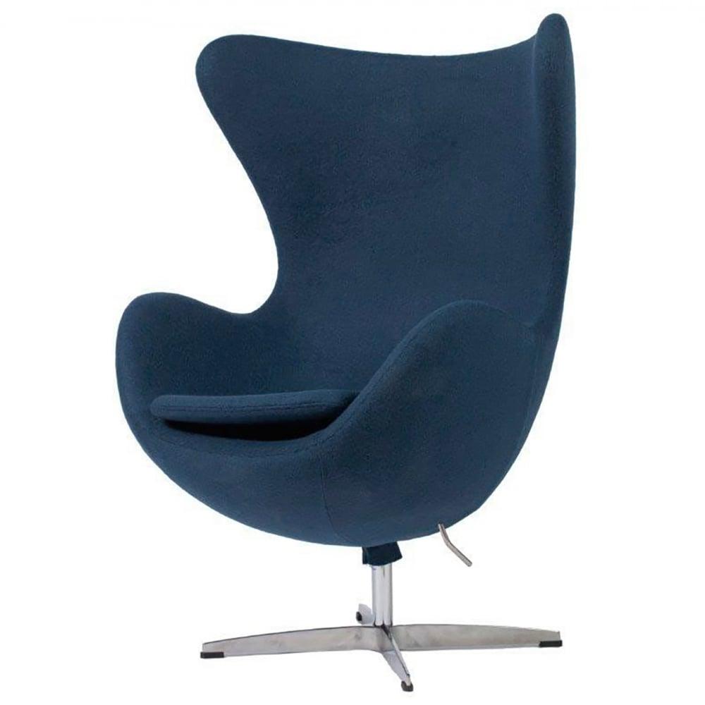Фото Кресло Egg Chair Серо-синее 100% Кашемир. Купить с доставкой
