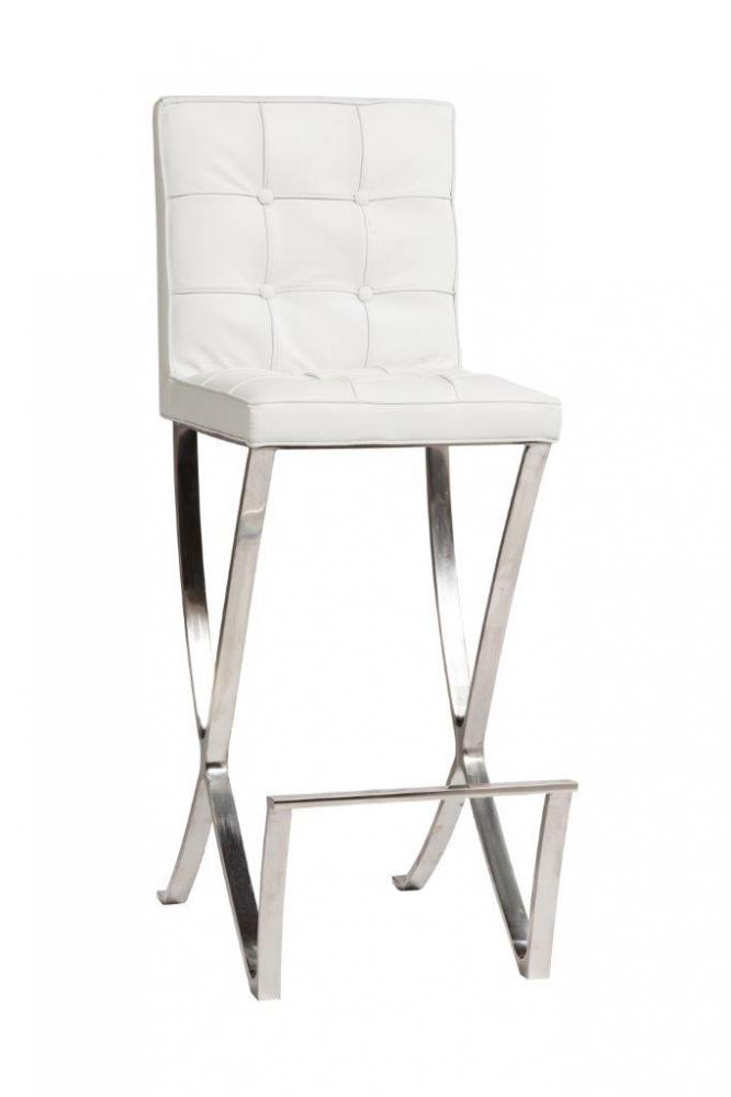 Стул барный Barcelona Белая КожаБарные стулья<br>Стул Barcelona — элегантный и надежный вариант <br>барного стула с металлическим каркасом, <br>мягким сиденьем и спинкой, идеально подойдет <br>для создания бара в современном стиле. Стул <br>обит натуральной кожей белого цвета в технике <br>капитоне. Устойчивые ножки из нержавеющей <br>стали с подножкой создают необыкновенный <br>комфорт и изысканность. Высота стула — <br>109 см, высота от пола до сидения — 74 см.<br><br>Цвет: Белый<br>Материал: Кожа, Поролон, Металл<br>Вес кг: 17<br>Длина см: 63<br>Ширина см: 39<br>Высота см: 106