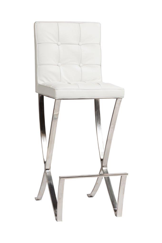 Купить Стул барный Barcelona Белая Кожа в интернет магазине дизайнерской мебели и аксессуаров для дома и дачи