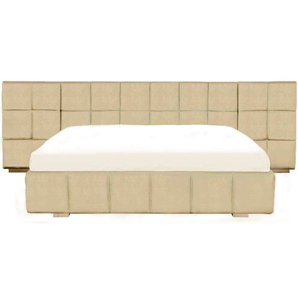 Кровать Ohen Grande 180х200 Светло-бежевая Нейлон DG-HOME Двуспальная кровать Ohen имеет изящный современный  дизайн. Светло-бежевое тканевое покрытие  дизайнерской модели выглядит роскошно  и неповторимо. Невероятно удобная и функциональная  конструкция кровати имеет деревянный каркас,  низкие ножки его выполнены также из дерева.  Модель прекрасно дополняет широкое элегантно  оформленное изголовье. Кровать Ohen изготовлена  только из самых высококачественных материалов,  что обеспечивает ей длительную эксплуатацию,  делает спальное место довольно комфортным  и уютным. Его светлый оттенок подойдет под  любой интерьер, сделает его роскошным и  неповторимым. Матрас в комплект не входит,  но при покупке кровати наши менеджеры окажут  профессиональную помощь в его выборе.