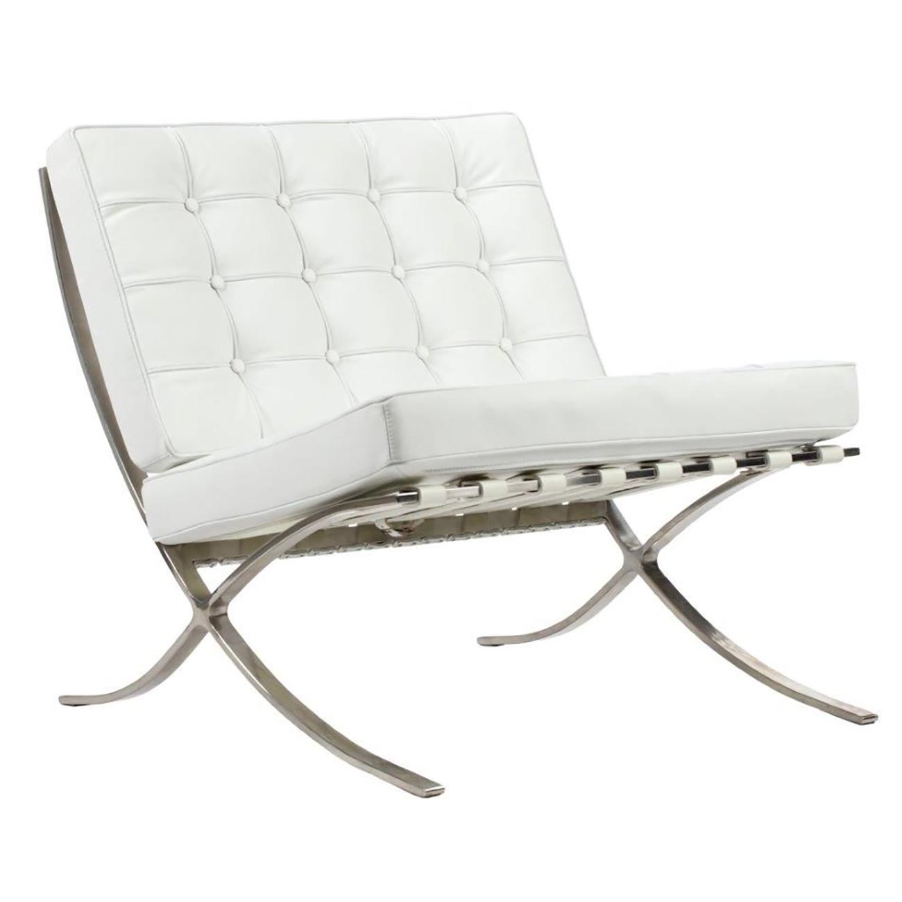 Купить Детское кресло Barcelona Chair Белая Кожа Класса Премиум в интернет магазине дизайнерской мебели и аксессуаров для дома и дачи
