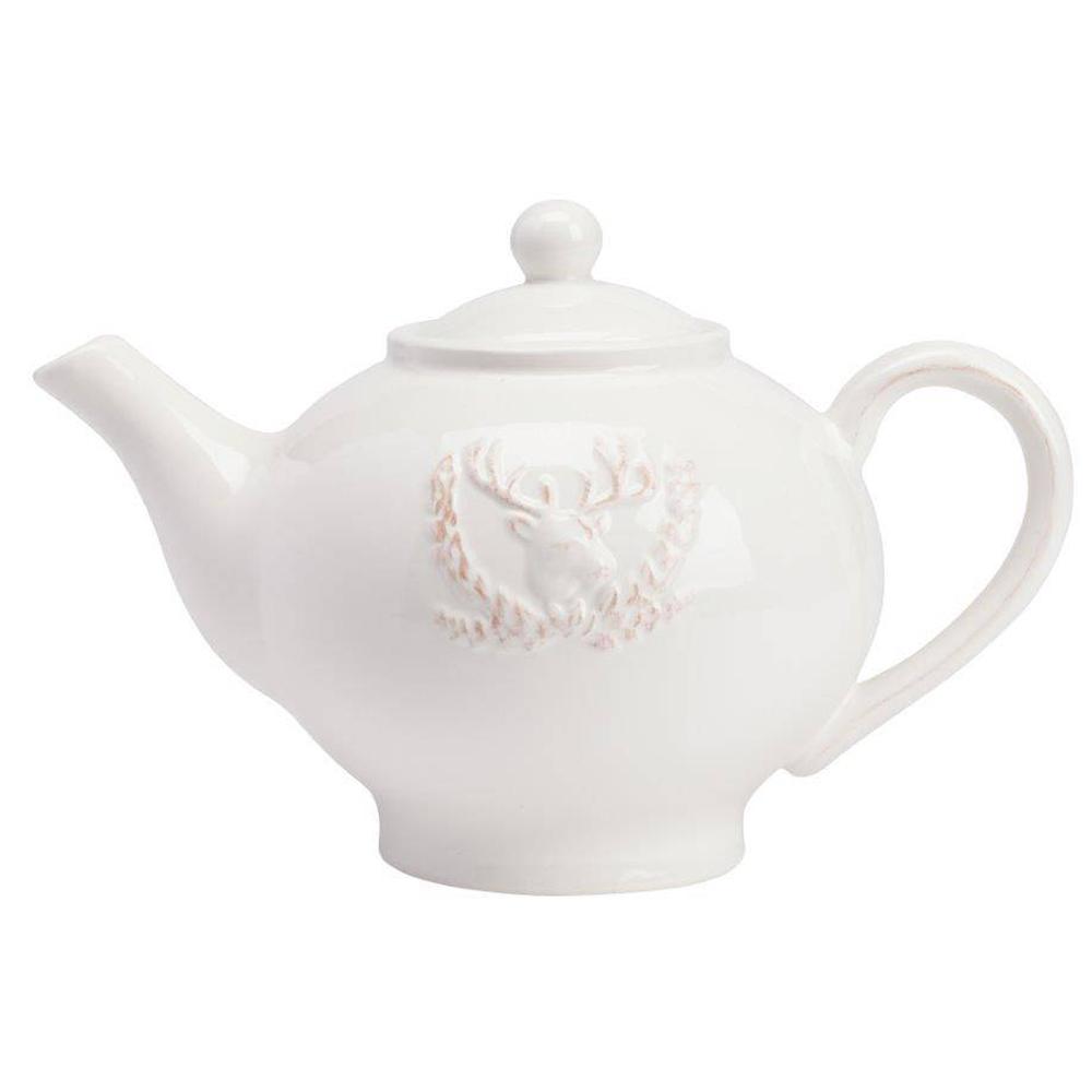 Заварной чайник LobulariЧайники<br>Заварной чайник Lobulari выполнен из керамики <br>в белом цвете. Декором служит рельефное <br>изображение головы лося. Чайник можно приобрести <br>как отдельно, так и совместно с другими <br>предметами коллекции.<br><br>Цвет: Белый<br>Материал: Грубая керамика<br>Вес кг: 0,6<br>Длина см: 23<br>Ширина см: 14<br>Высота см: 15
