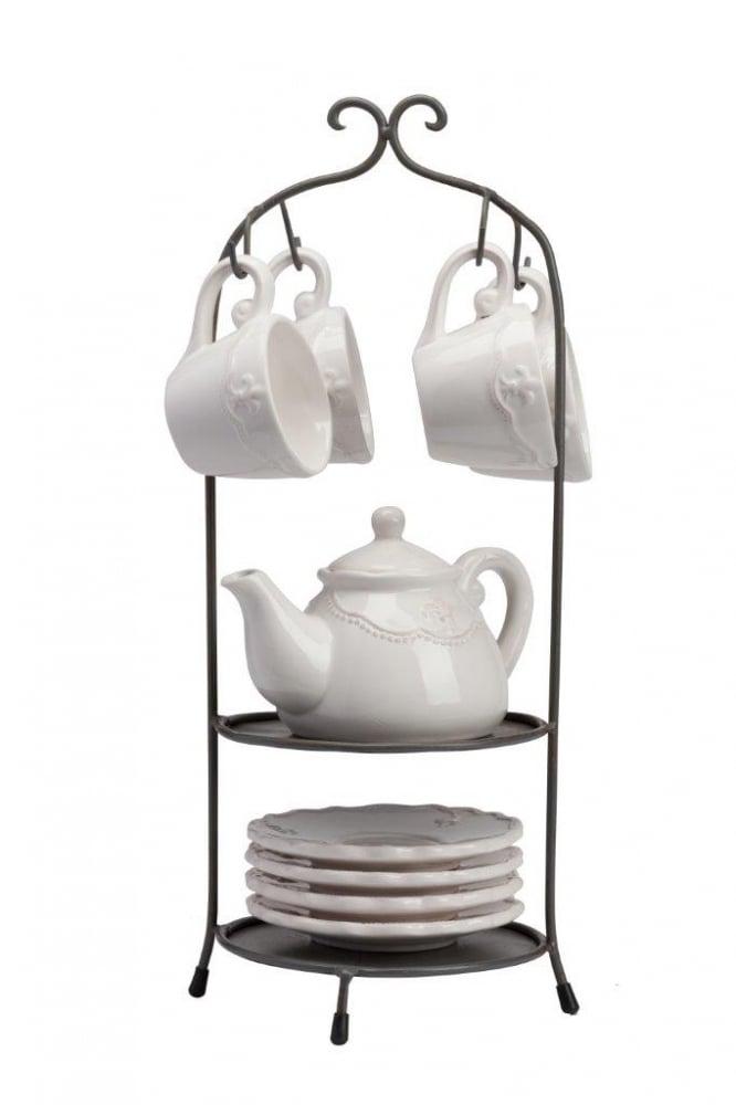 Чайный набор на подставке Treffen DG-HOME Чайный набор Treffen состоит из 9 предметов  - 4 чашки, 4 блюдца, заварочный чайник. Для  удобства хранения можно использовать металлическую  подставку, которая идёт в комплекте. Все  предметы в наборе украшены ненавязчивым,  очень элегантным набивным рисунком в виде  геральдических лилий, который придется  по вкусу и ценителям классики, и тем, кто  предпочитает утонченность и изысканность.  Набор идеально впишется в любой уголок  вашей кухни и станет стильным дополнением  к ней, а также подойдёт в качестве подарка.