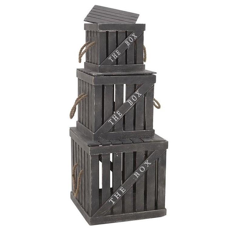Набор ящиков, 3 шт. серого цвета