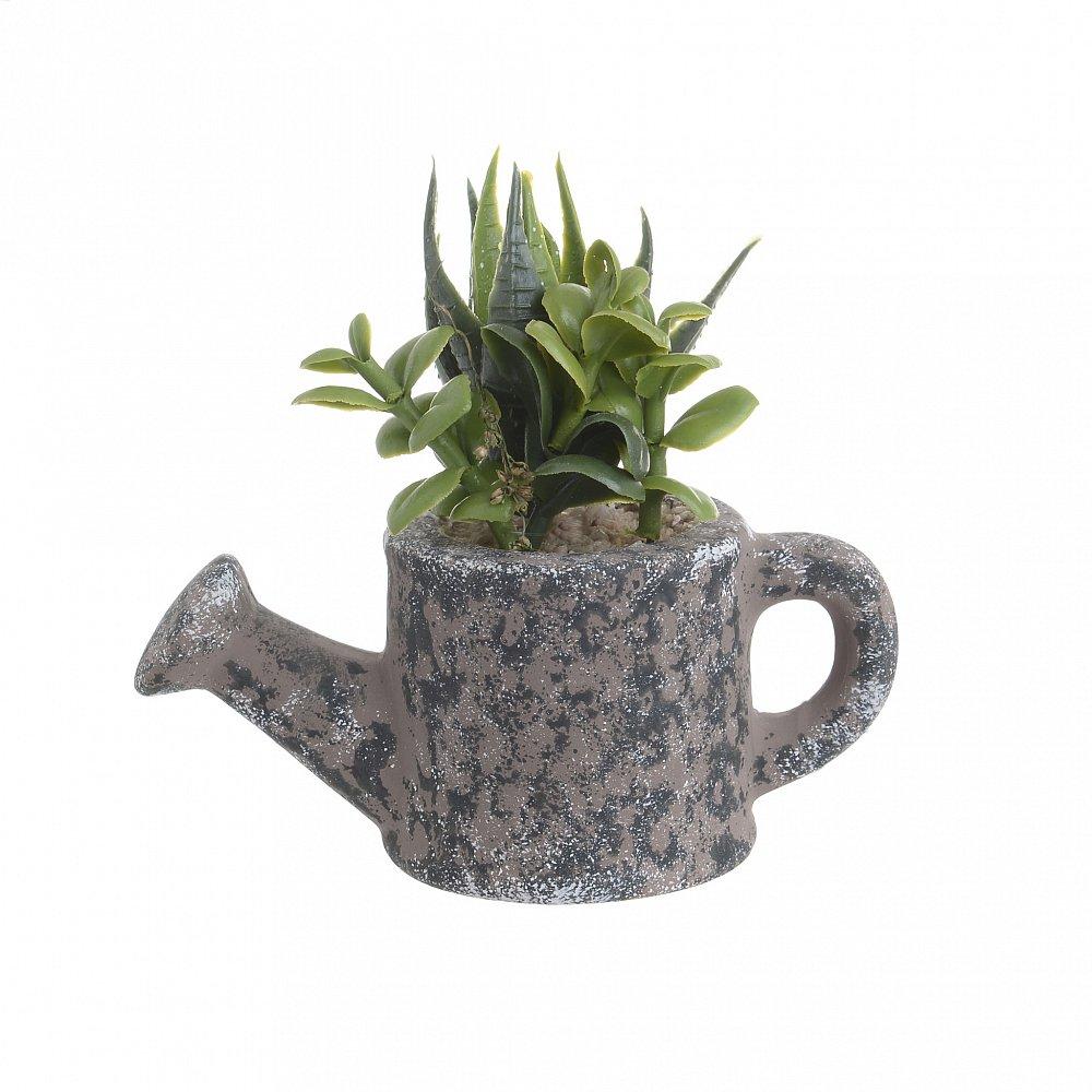Искусственный цветок в кашпо чайнике