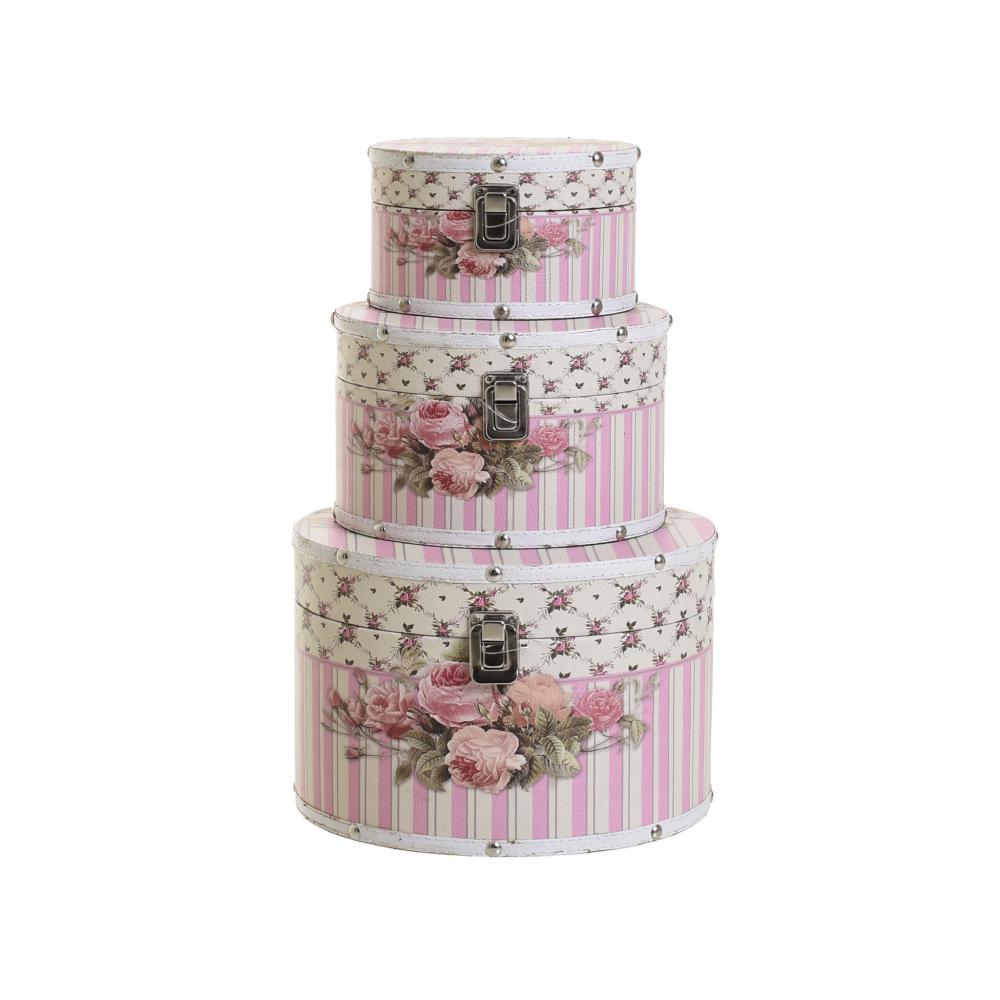 Коробка, набор из 3 шт. розового цвета