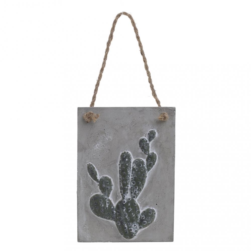 Панно с веревкой Кактус серого цвета