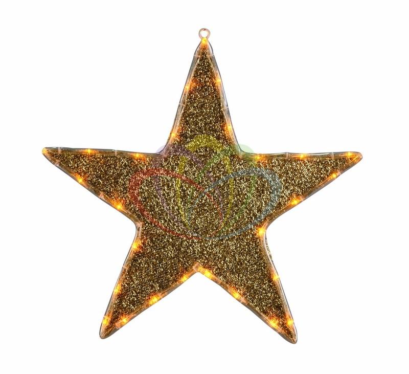 Фигура Звезда бархатная, с постоянным свечением 45 см