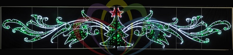 Фигура световая Елка со звездой, 8х1.5м