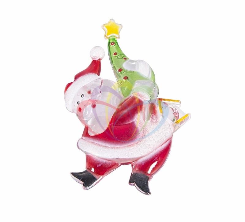 Фигура светодиодная на присоске Санта-Клаус с елочкой, RGB
