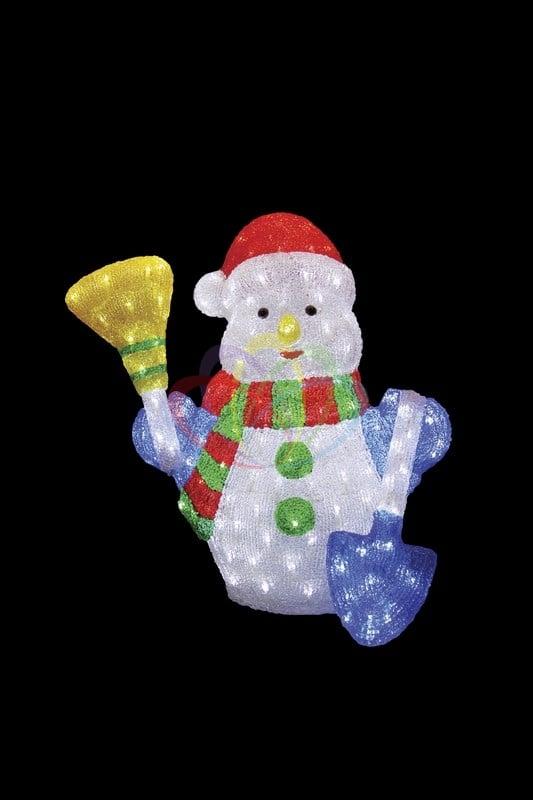 Акриловая светодиодная фигура Снеговик с метлой и лопатой, 60 см